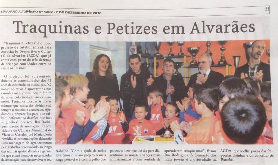 """""""Traquinas e Petizes"""" é o novo projeto de futebol infantil em Alvarães"""